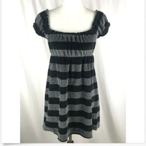 Victorias Secret PINK Dress Sz M Black Gray Stripe